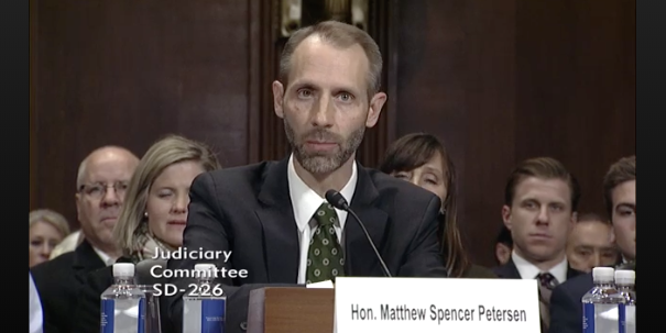 Matthew Petersen testifying before the Senate Judiciary Committee on Dec. 13