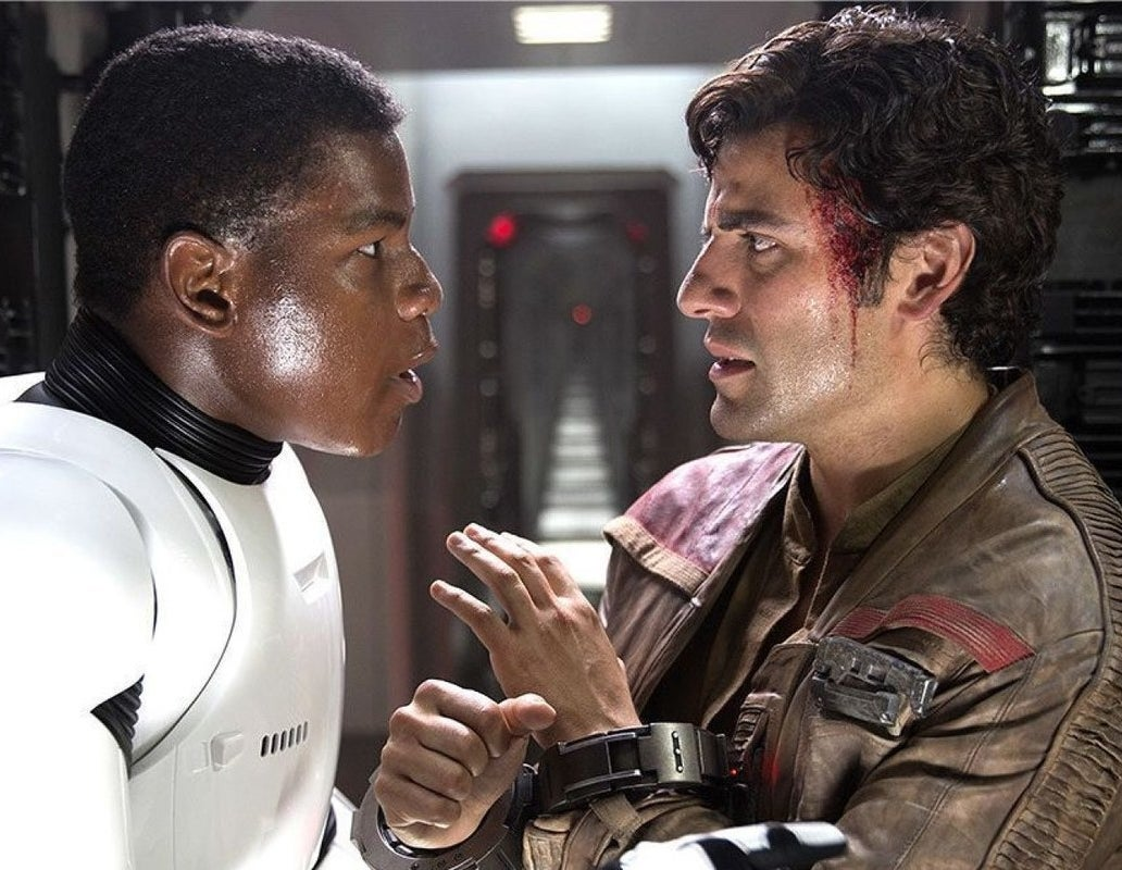 John Boyega and Oscar Isaac in Star Wars: The Force Awakens.