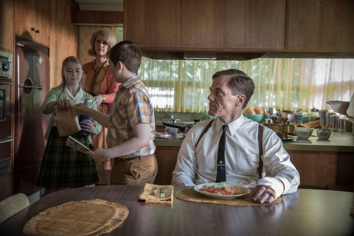 Madison Ferguson, Lauren Lee Smith, Jayden Greig, and Michael Shannon in The Shape of Water.