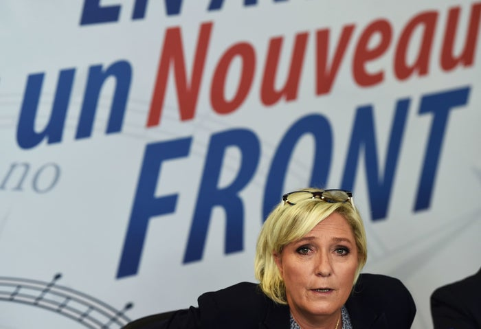 Far-right National Front party leader Marine Le Pen answers to journalists at the Federation of Vaucluse during a press conference on Oct. 8, 2017, in Carpentras in southern France.