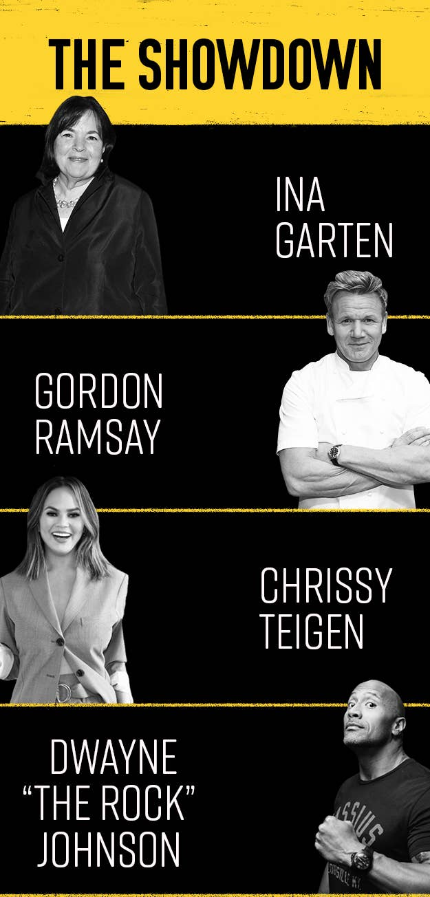 """This was my lineup:1. Ina Garten: Because I knew that Ina would take her pancakes to a whole new level and add some fancy ingredient like lemon zest or good vanilla (which, spoiler, she adds both).2. Gordon Ramsay: Because I figured a world-class chef would have some crazy hack for making perfect pancakes (just like he has a crazy hack for making his famous scrambled eggs).3. Chrissy Teigen: Because I wanted to try something a bit more out of the box, and her Dutch baby pancake seemed like just the thing to spice things up. (And people really do swear by her cookbook — she even has a second one in the works.)4. Dwayne """"The Rock"""" Johnson: Because I stumbled across a recipe for his ~world-famous~ pancakes on Instagram, and it low-key looked delicious."""