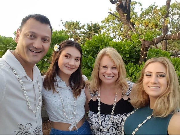 "This is the Napoli family from Ontario, California: From left to right is dad Joe, daughter Audrey, mom Marie, and daughter Madison. All the Napolis take Christmas pretty seriously, but especially dad. ""He's pretty overdramatic at times,"" Madison, 21, told BuzzFeed News."