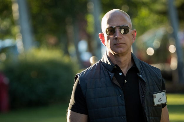 Bezos was in Idaho for an annual gathering of rich and powerful people. He strolled in wearing a polo that could barely contain his biceps, topped by a lightweight puffer vest.