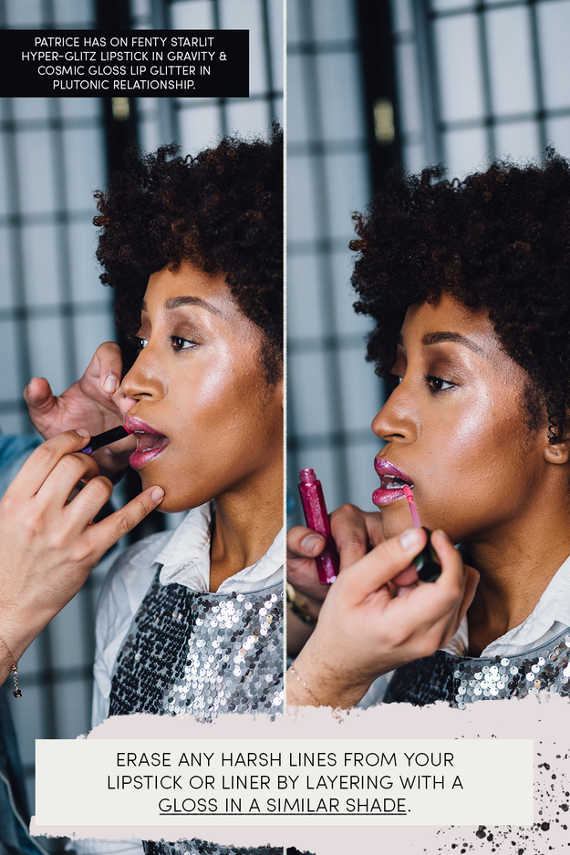 End strong by layering on mascara and your fave bold lipstick, and top the lipstick with gloss in a similar shade to saturate the color even more. If there are any harsh lipstick lines around your mouth, Hector says a gloss helps to blend them out.