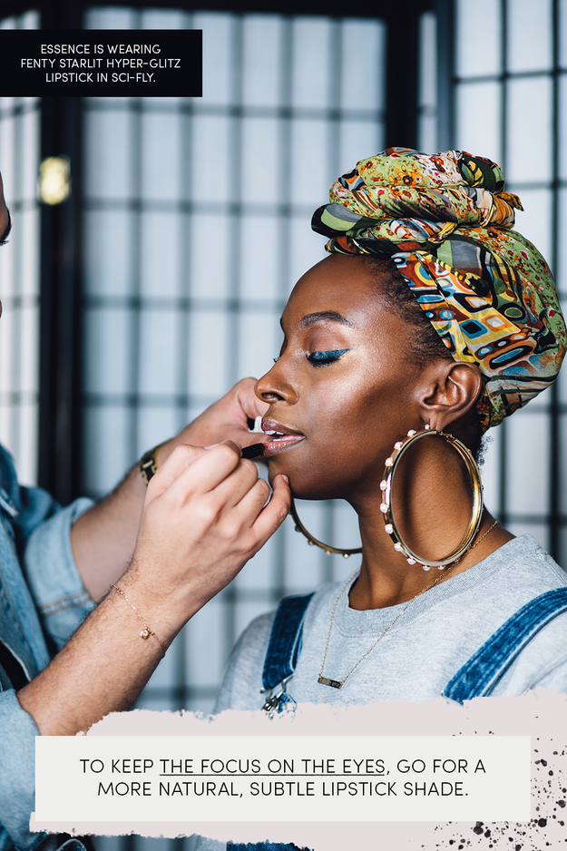 To complete the look, finish off with mascara and lipstick. Your lip can be as bold or as muted as you want since the eye is dramatic but still subtle in color. To keep the focus on the wings, though, Hector suggests a more muted shade.