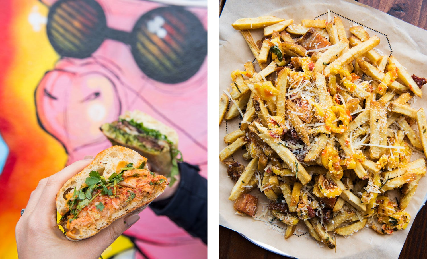 L, top to bottom: Porchetta sandwich with gremolata, caper mayo, arugula, and Parmesan; Korean pork shoulder sandwich with house kimchi, chili mayo, cilantro, and lime. R: Dirty Fries with pork scraps, marinated peppers, fried herbs, and Parmesan.