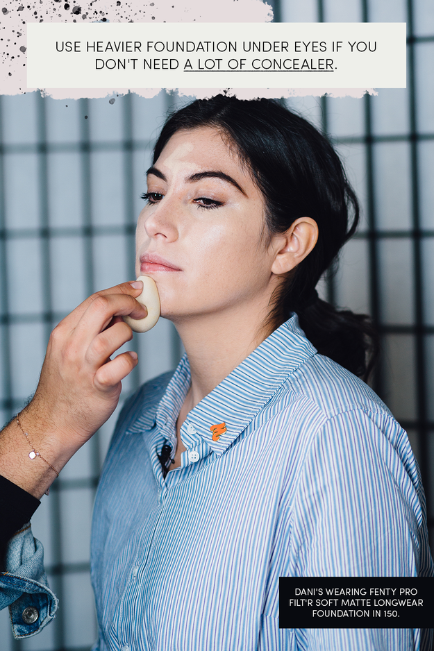 Apply an even layer of foundation all over your face with a beauty sponge. Start with a little so it doesn't look cakey, and build if you need more.