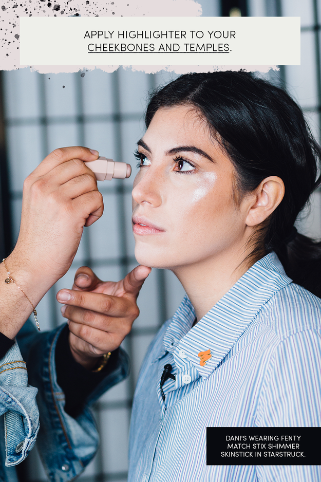 Apply highlighter to the high points of your face, like your temples and cheekbones. You can also use highlighter as eye shimmer!