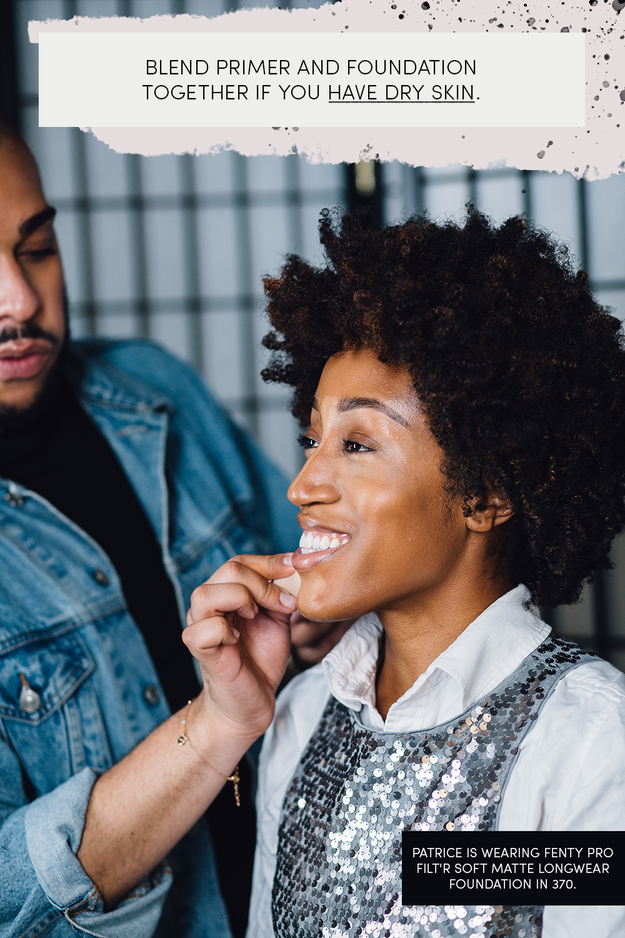 So each look basically starts with the same steps, which are primer and foundation. If you have dry skin, Hector says a good tip is to mix both products, two pumps of primer and two pumps of foundation, and apply them together.