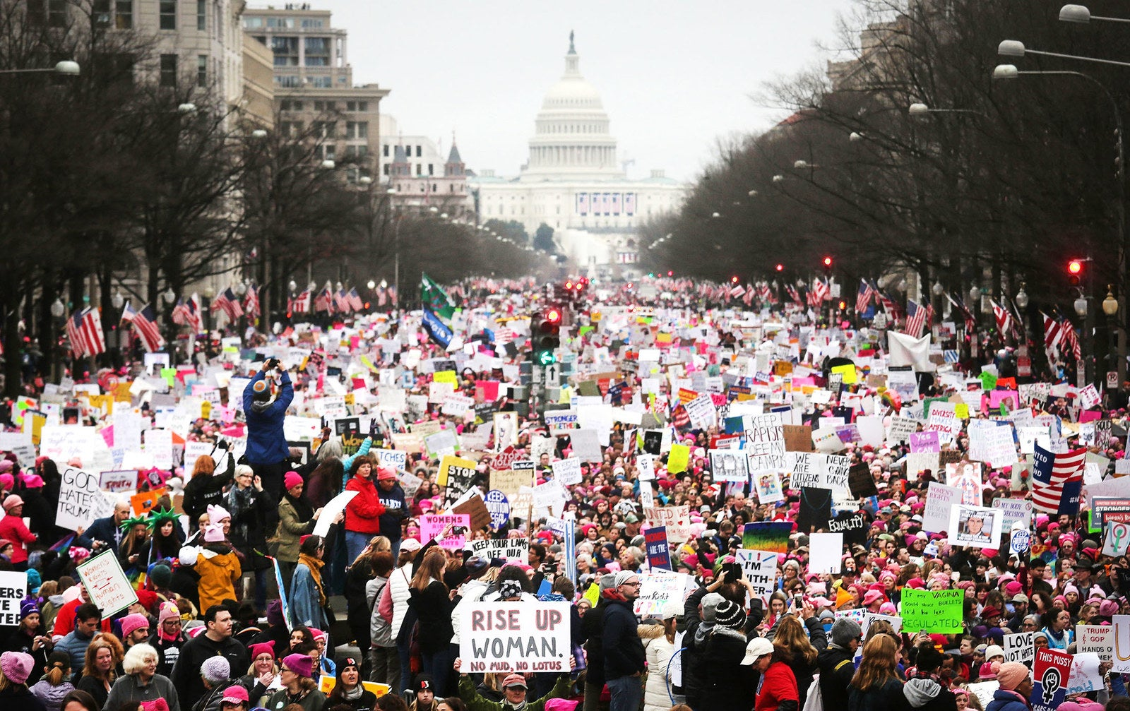 Protesters walk during the Women's March on Washington, with the US Capitol in the background, on Jan. 21 in Washington, DC. Large crowds attended the anti-Trump rally a day after Donald Trump was sworn in as the 45th US president.