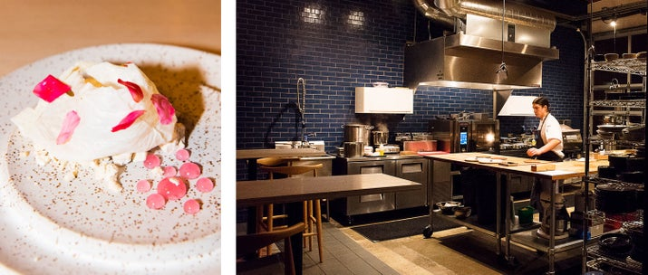 L: Yuba made of a crispy milk skin atop a frozen crumble of speculoos cookies with pickled roses with a rose-vinegar galee. R: a chef hard at work in the open-kitchen dining space, with the dining space situated on the left in the photo.