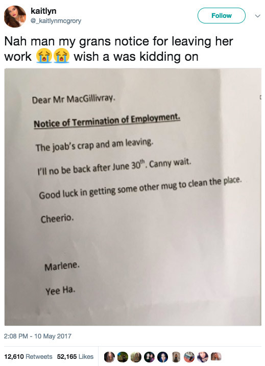 When Marlene quit her job in style.