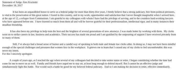Statement from Judge Alex Kozinski, provided to BuzzFeed News by his attorney Susan Estrich