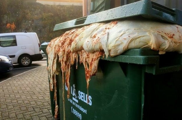 "This ""growing"" pizza dough in a dumpster:"