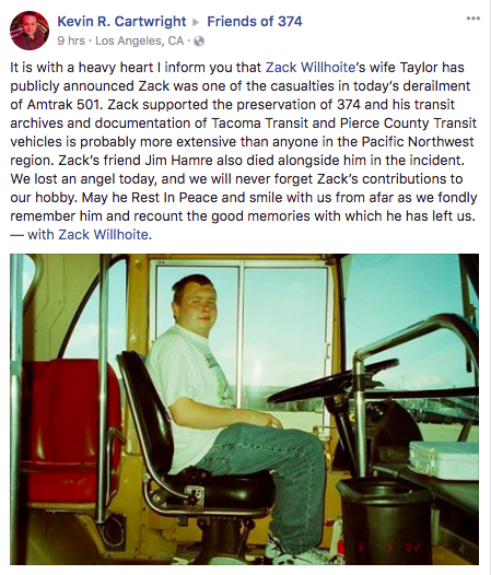 "A fellow transit enthusiast remembered Willhoite as passionate contributor to the community, saying his ""transit archives and documentation of Tacoma Transit and Pierce County Transit vehicles is probably more extensive than anyone in the Pacific Northwest region."""