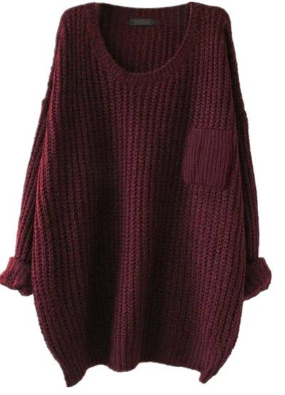 f86d13374490d A slouchy pullover sweater with a chest pocket you can throw on when you  only have five minutes to get ready.