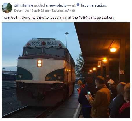 One of the last things Hamre posted on his Facebook page were photos of the Amtrak Cascades 501 train arriving at the Tacoma Station.