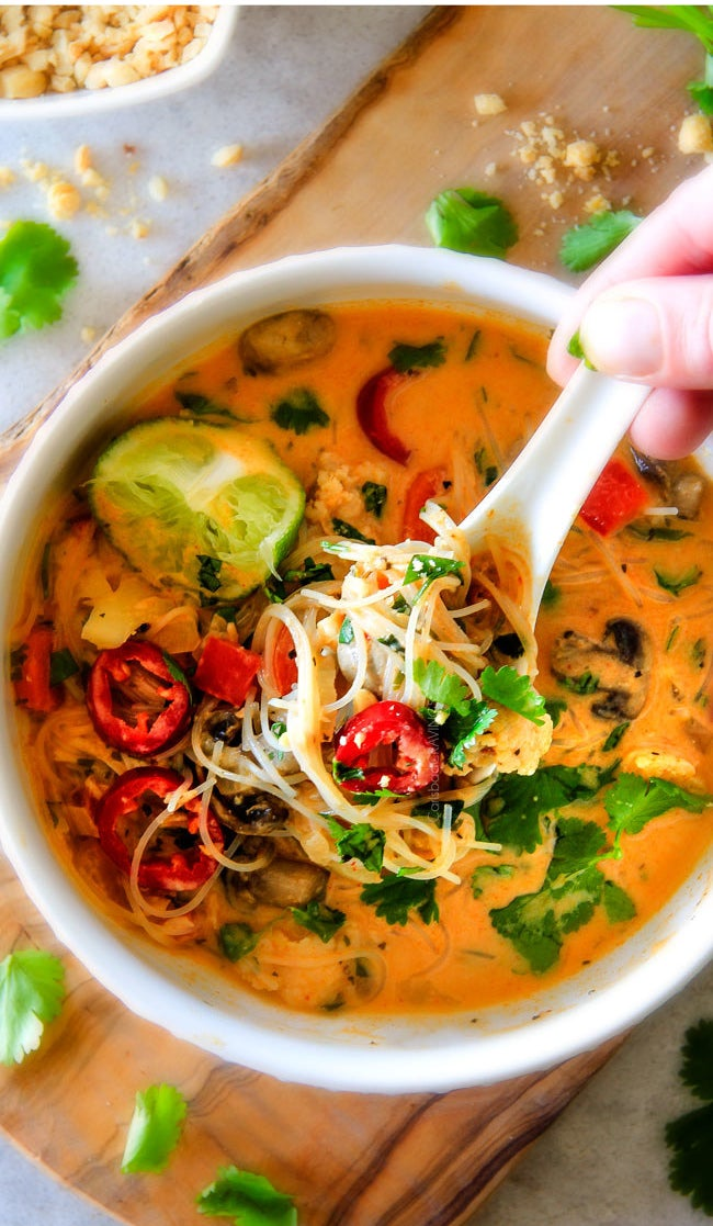 One Pot Thai Chicken Noodle Soup