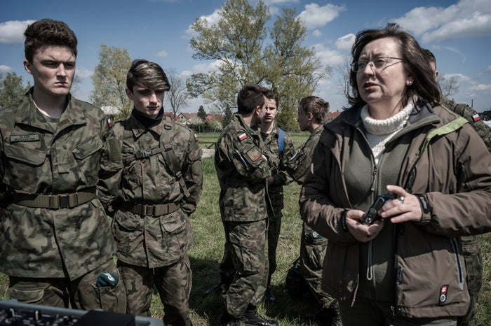 Malgorzata Baranowska (right) is a history and education for security professor at a public high school in Brzeg, Poland. She started military classes there in 2011 to teach the importance of discipline, obedience, and a respect for authority.