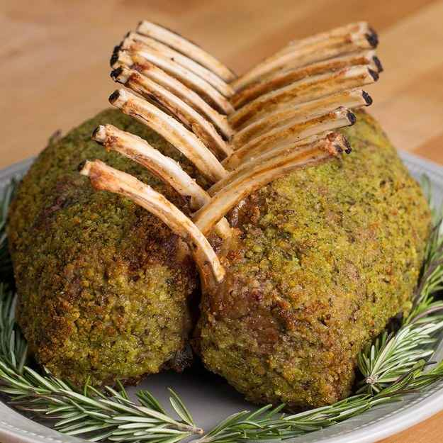 8 servingsINGREDIENTS1.1 kg (2 1/2 lb) rack of lamb, frenched salt, to taste pepper, to taste5 tablespoons olive oil, divided8 cloves garlic, peeled and smashed85 g (3/4 cup) breadcrumb10 g (1/4 cup) fresh flat-leaf parsley1 1/2 tablespoons fresh rosemary55 g (1/2 cup) grated parmesan cheese1 1/2 tablespoons whole grain dijon mustardPREPARATION1. Preheat oven to 400°F (200°C).2. Season lamb generously with salt and pepper.3. Heat a cast iron over medium high heat.4. To the hot pan, add in 4 tablespoons of the the olive oil, along with the lamb and garlic. Sear all sides of the lamb until browned, about 3-4 minutes. Remove browned lamb, and place cooked lamb onto a baking sheet.5. Remove garlic and add to food processor with along with the breadcrumbs, parsley, parmesan, rosemary, and 1 tablespoon of olive oil. Pulse until combined. Pour onto a large plate.6. Brush the top and sides of the lamb with mustard.7. Coat the top and sides of the lamb with the breadcrumb mixture and roast in oven for 20-25 minutes.8. Allow to rest before slicing.9. Enjoy!Inspired by:http://www.donalskehan.com/recipes/roast-lamb-with-wild-garlic-pesto-and-lettuce-and-peas/