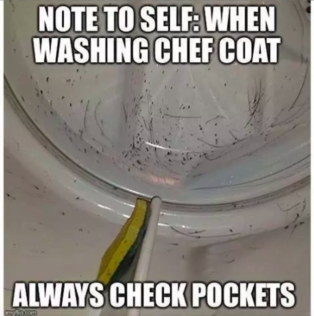 When you wash your chef coat and forget to take the Sharpies out of your pocket.