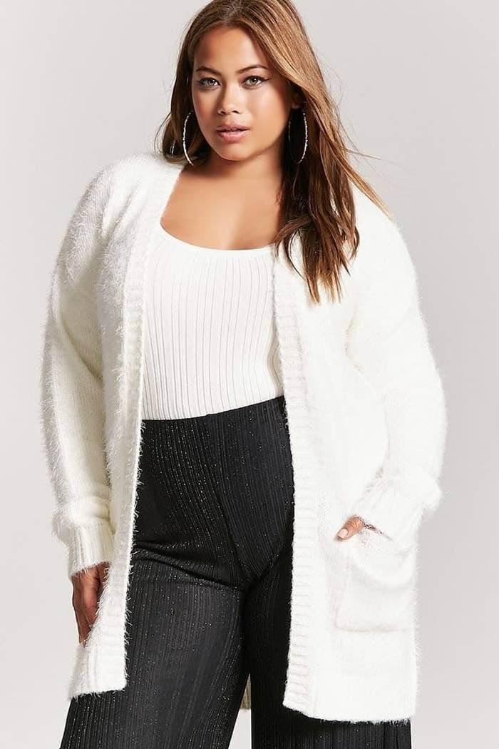 c370c99460e6c0 A fuzzy white cardigan for anyone who wants to look like a snow bunny.
