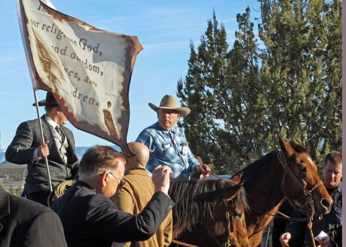 Cliven Bundy, on horseback at center, in 2016.