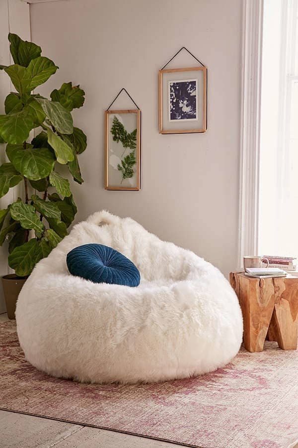 A Shaggy Faux Fur Bean Bag Chair For Anyone Who Wants To Know What Its Like Cuddle With Polar Bear Spoiler Alert Cozy AF But Also Probably