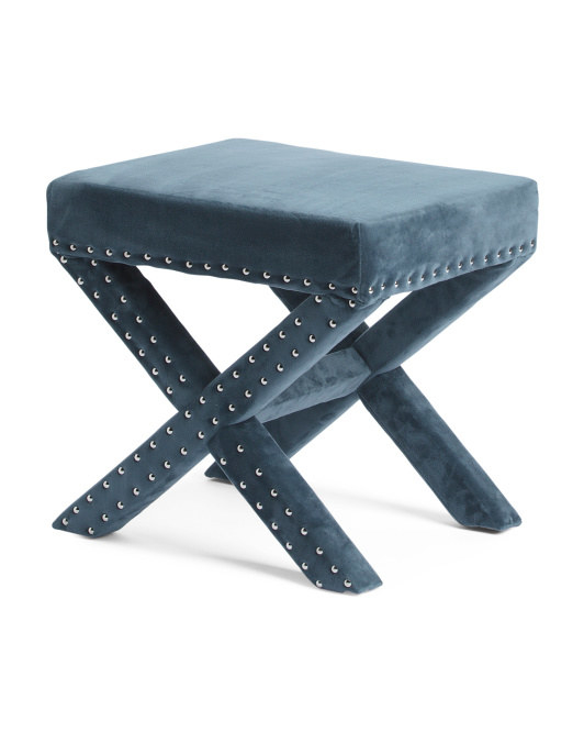 4. A Velvet Ottoman To Give Your Living Room A Glamorous Touch.
