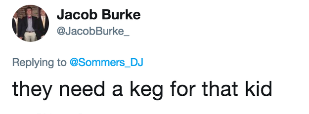 Someone else thought a keg might have been better than a bottle.