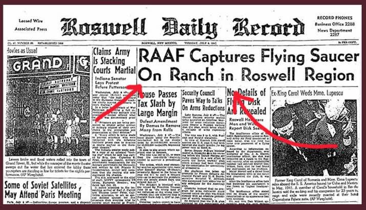 La Fuerza Aérea trató de desalentar los titulares como el que se muestra arriba diciendo que la chatarra similar al metal era de un globo aerostático y no de un OVNI. El gobierno de los Estados Unidos comenzó a arrojar copias de esa chatarra hecha de látex por todo Nuevo México unos años más tarde, para algo llamado Proyecto Mogul, lo cual levantó sospechas... pero en 1994, los archivos del proyecto se hicieron públicos para calmar a la gente.—tootingtiger