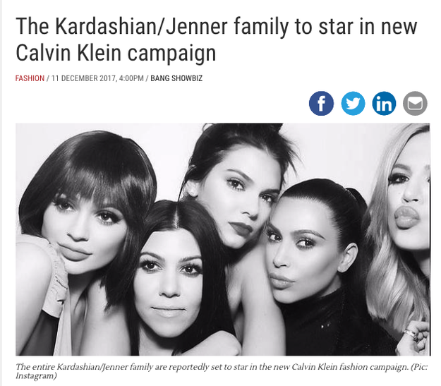 Some people noticed an article from December 11 that the family will be doing an CK ad campaign...