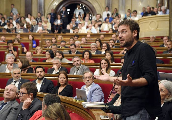 Albano Dante Fachin speaks during a session at the parliament in Barcelona, Spain, Sept. 6, 2017.