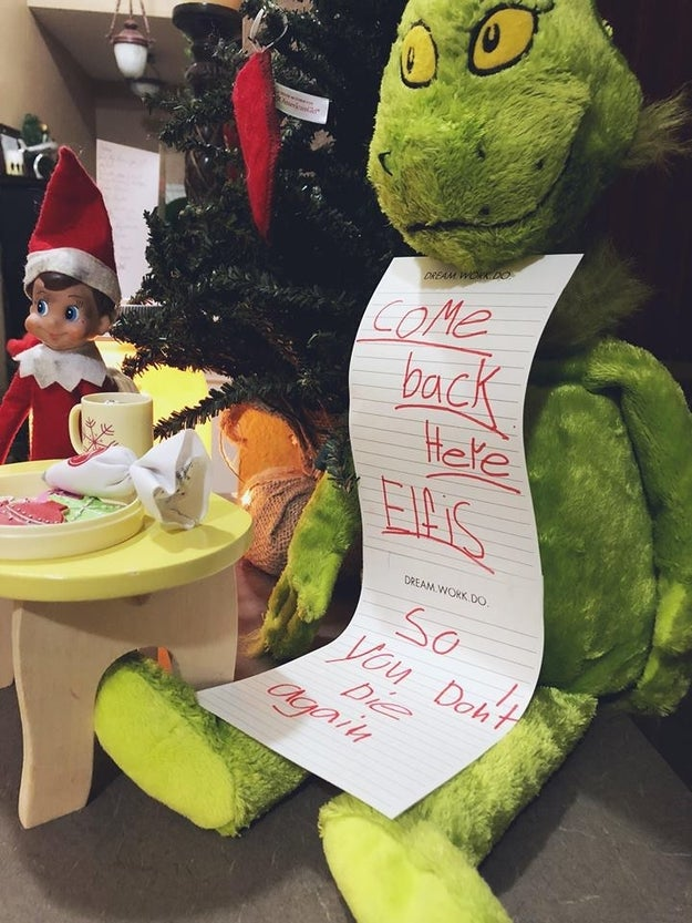 "By the way, the elf was resurrected. ""Since I couldn't ruin it for my kids, a professional Santa delivered our new Elfis, that I dirtied up a little with ashes from a candle, to our house,"" Mease said."