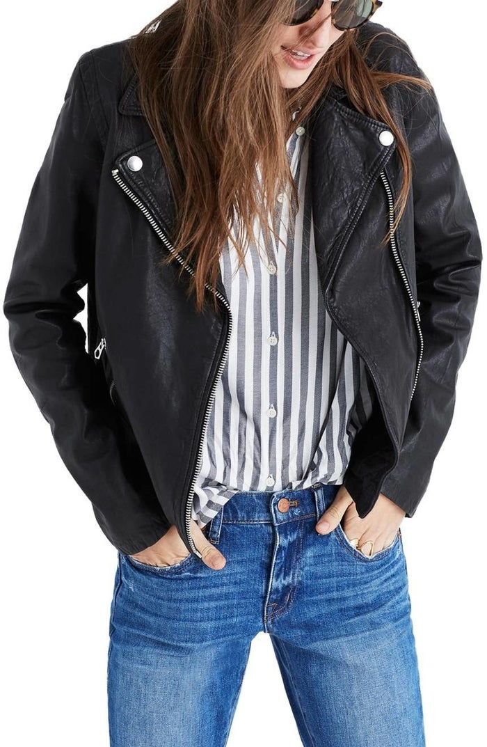 """Promising Review: """"I LOVE this jacket!! I've had trouble with leather jackets in the past (most of them are too tight in the arms or shoulders for me, or too loose in the body, etc.), but this one is perfect! It has just enough stretch to be super comfortable, and it looks great! Worth every penny!!"""" —Moly7040Get it from Nordstrom for $498 (two colors, 2XS–XL)."""