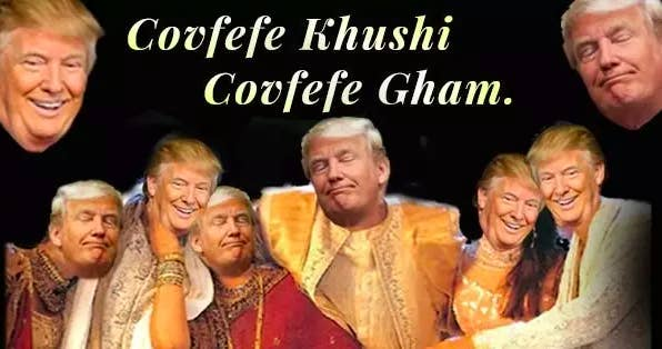"We can't talk about hard-to-decipher tweets without discussing Donald Trump and ""covfefe"". Just a couple of weeks after Tharoor's ""farrago"" faux pas, Trump posted a tweet that experts are still trying to decipher. As the world tried to figure out what exactly Trump was trying to say, we Indians jumped in with some pretty hilarious insights of our own."