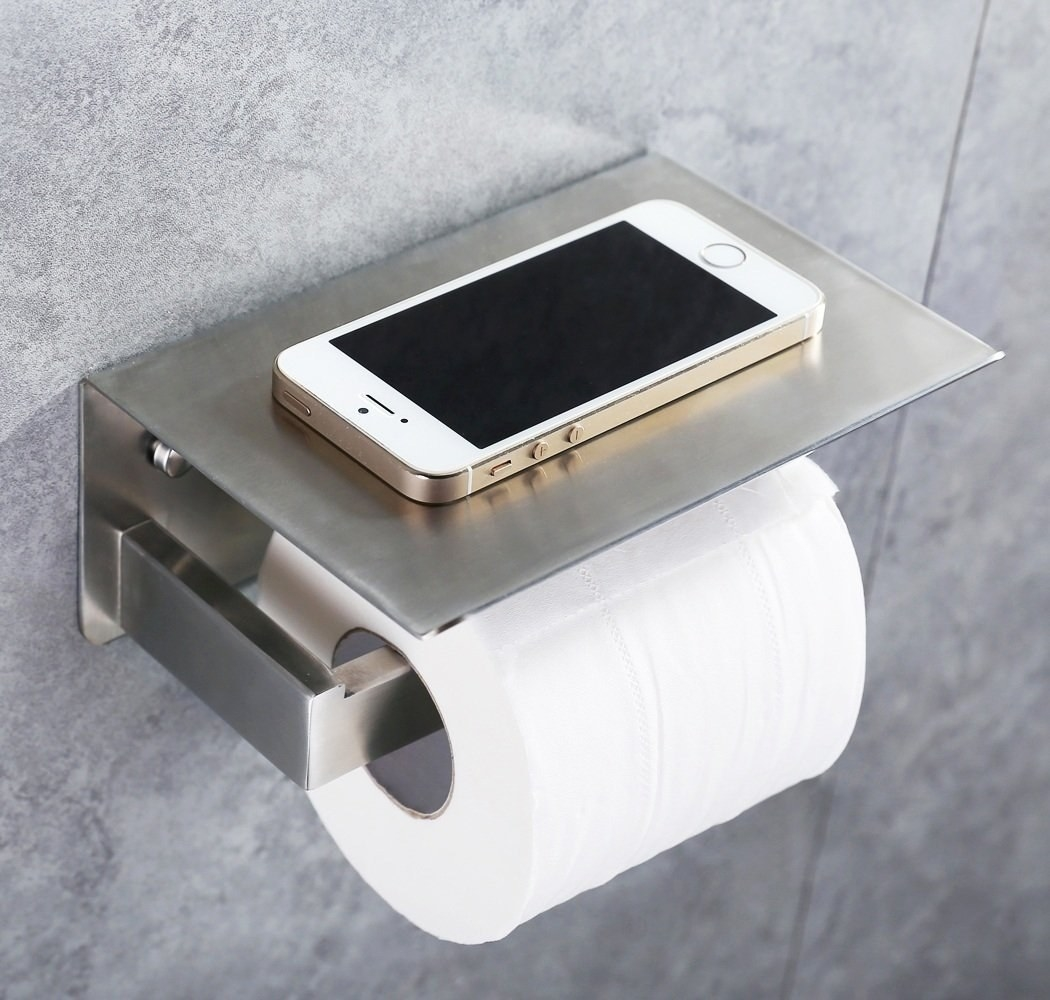 Use A Stainless Steel Toilet Paper Holder With A Built In Shelf To Prevent  Accidental Cell Phone Drownings.