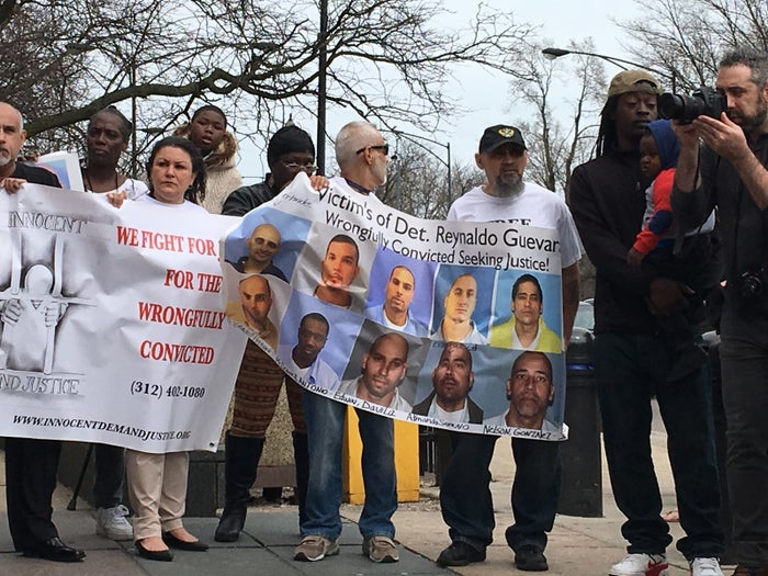 Demonstrators protesting alleged misconduct by Det. Reynaldo Guevara outside a Chicago courthouse in April.