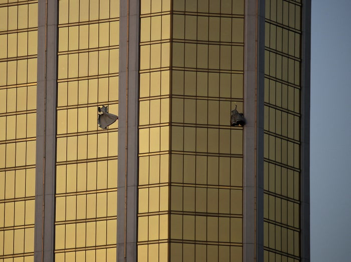 Broken windows at Mandalay Bay where Stephen Paddock opened fire.