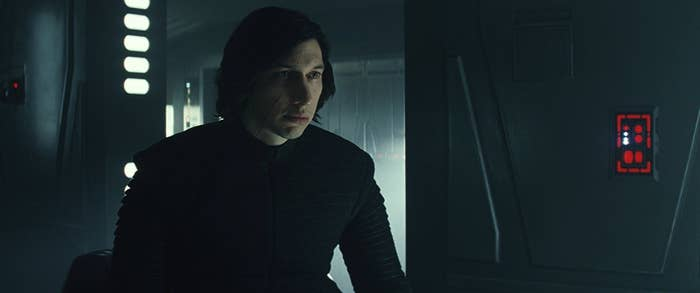 Adam Driver as Kylo Ren in Star Wars: The Last Jedi.