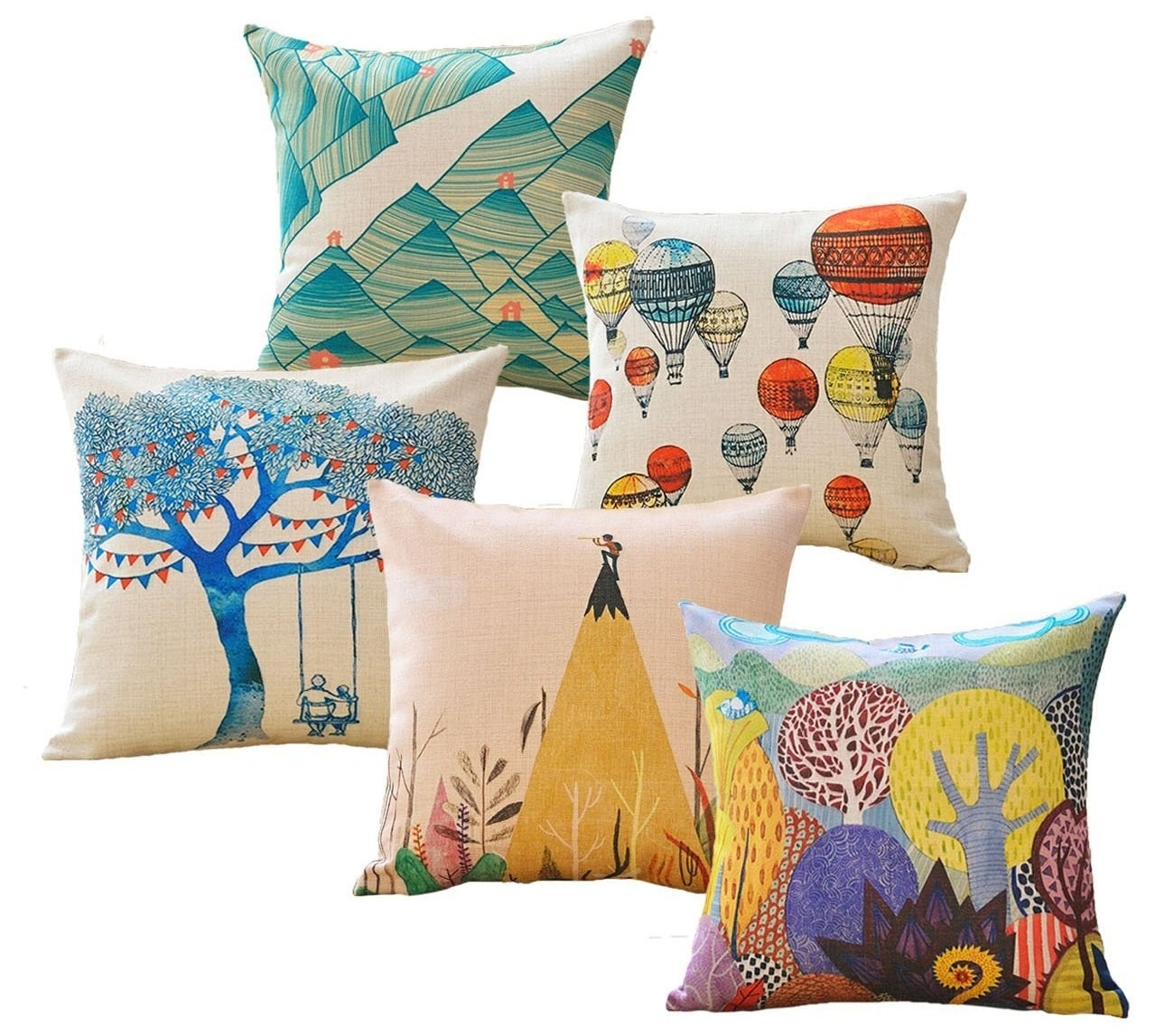 five throw pillows with colorful designs on them