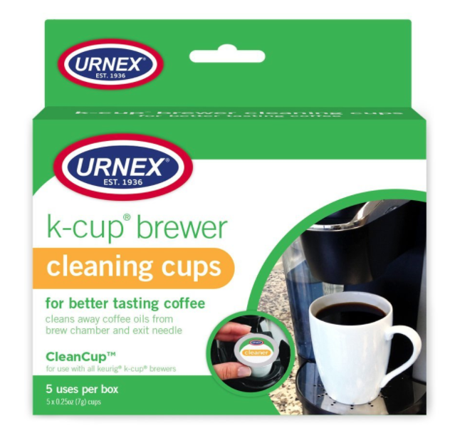 The packaging of the k-cup brewer cleaning cups