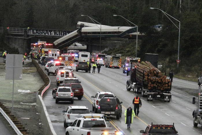 A derailed train is seen on southbound Interstate 5 on Dec. 18 in DuPont, Washington.