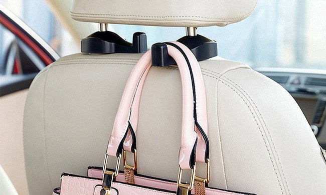 """The set includes two hanger hooks. Promising Review: """"These work great and are not noticeable. I use them for my purse because I got tired of it tipping over and dumping all the contents on my floor! I even use them when I pick up my niece and nephew for them to hang their backpacks. They work great!"""" —Amazon CustomerPrice: $7.95 Colors: two"""