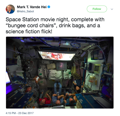 "NASA Astronaut Mark T. Vande Hei tweeted this picture of ""movie night."""