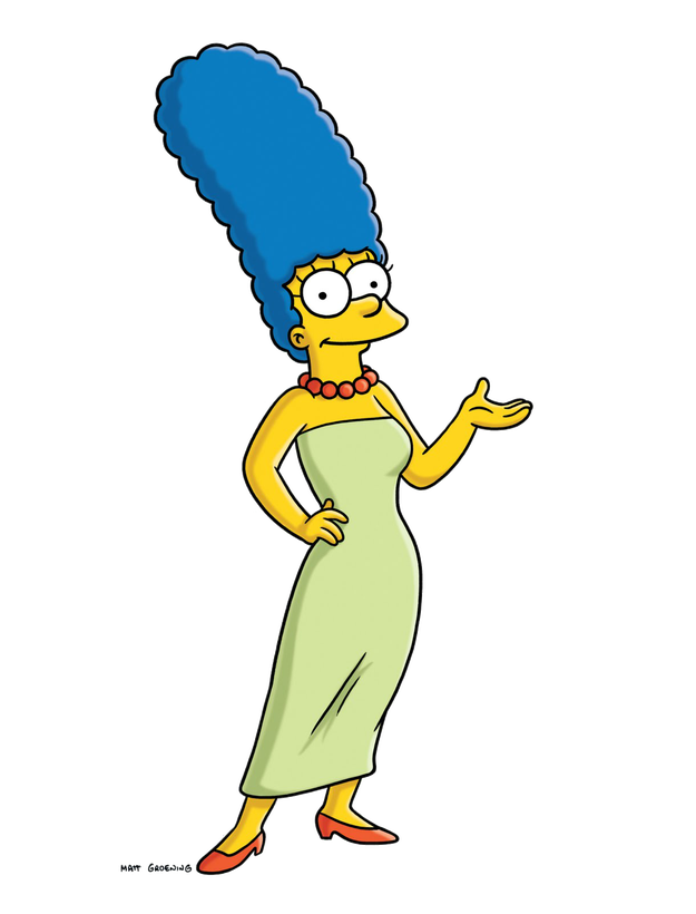 Some women with blue hair: Marge Simpson.
