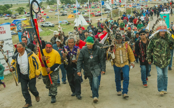 Protesters demonstrate against the Dakota Access oil pipeline near the Standing Rock Sioux reservation in Cannon Ball, North Dakota, on Sept. 9, 2016.