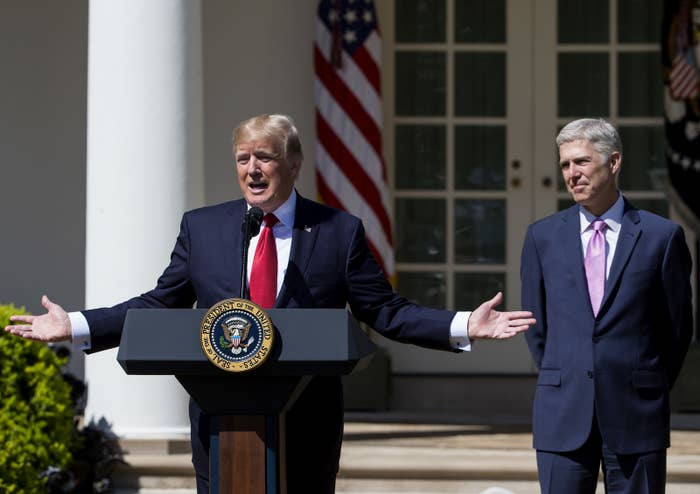 President Donald Trump with Supreme Court Justice Neil Gorsuch at a Rose Garden ceremony in April.