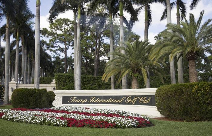 The entrance to Trump International Golf Club in West Palm Beach, Florida.