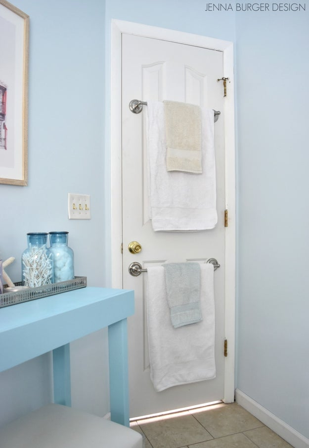 Hang a bar instead of using a hook so that your towels aren't falling to the ground every five seconds.